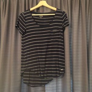 hollister navy and white striped tee